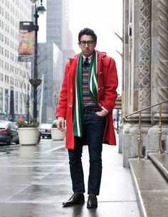 "Swap green scarf for navy to avoid that x-mas look, or leave it for that ""f*** yea x-mas!"" look."