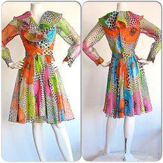 Neon Vintage Jack Bryan Flower & Polka Dot Ruffle Dress / Psychedelic Colorful Vintage Boho Dress / Wild 1960s 1970s Hippie Gypsy