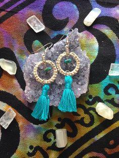 Turquoise gemstone TASSEL EARRINGS hemp by HappyHempCrafts on Etsy