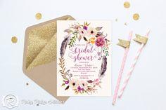 Printable Bridal Shower Invitation, Romantic Watercolor Floral | 50 invites = $115 for digital download, zazzle 5x7 & envelope, stamps