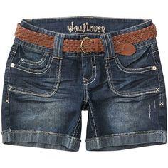 Wallflower Dark Wash Belted Denim Bermuda Shorts ($19) found on Polyvore