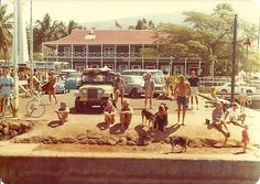 Lahaina in front of the Pioneer Hotel, 1973.