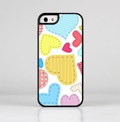 The Fun Colored Heart Patches Skin-Sert for the Apple iPhone 5-5s Skin-Sert Case
