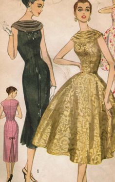 Vintage 1957 Simplicity 1868 UNCUT Sewing Pattern Misses' Dress with Two Skirts