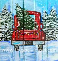 Learn basic painting techniques from home. The Social Easel is your step-by-step online adventure into art. Basic Painting, Acrylic Painting Tips, Easy Canvas Painting, Canvas Art, Christmas Drawing, Christmas Art, Christmas Truck, Christmas Paintings On Canvas, Paint And Sip