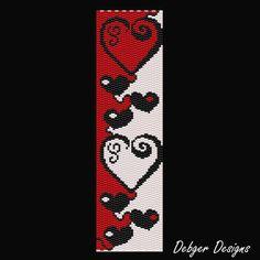 Heart Chain 2 Beaded Peyote Bracelet Cuff by FUNPATTERNDESIGNS