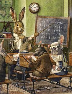 Chris Dunn Illustration/Fine Art: 'A Maths Lesson' Susan Wheeler, Illustration Mignonne, Children's Book Illustration, Book Illustrations, Chris Dunn, Lapin Art, Art Mignon, Rabbit Art, Bunny Art