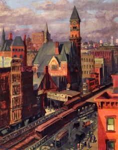 Jefferson Market John Sloan - 1917 (love this dark light color theme)