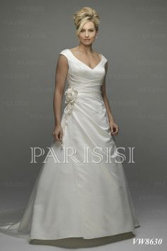 Plus Size Wedding Dress Satin Ivory V-Neck Long Zippered-Back A-Line price USD $258 - PARISISI ONLINE DISCOUNT SHOP