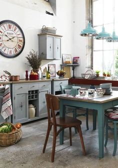 Country kitchen in an industrial loft. deavita.com