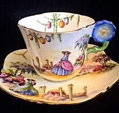 stunning aynsley venetian lady in crinoline flower handle Tea Cup And Saucer
