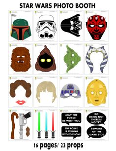 Star Wars Photo Booth Props-23 Pieces-Star by HappyFiestaDesign