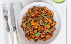 A naturally gluten-free meal of tender squash with quinoa, mixed with crunchy   broccoli and nuts