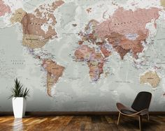 Detailed silver grey world map feature wall wallpaper mural 315cm executive political world map wallpaper mural room setting gumiabroncs