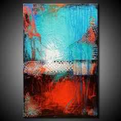 Textured Abstract Painting Urban Modern ORIGINAL 24x36 Canvas Red Teal Blue Fine Art by Maria Farias. $281.00, via Etsy.