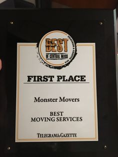 #BestMovers award! #MonsterMovers Thank YOU!