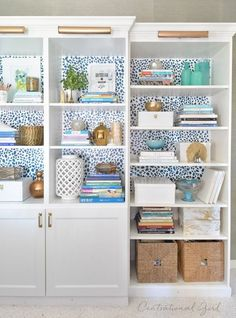 Ikea Besta + Billy Bookcase combo with added lights. Bookcase Styling, Bookcase Shelves, Built In Bookcase, Shelving, Wallpaper Bookcase, Of Wallpaper, Wallpaper Backgrounds, Ikea Billy Bookcase Hack, Billy Bookcases