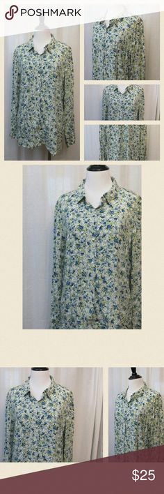 "J Jill Green Blue Floral Rayon Blouse Top M Excellent condition. Button front. Long sleeve.   All clothes are in excellent used condition. No stains or holes.  Content: 100% Rayon  Bust: 40"" Length: 28""  Posh11 J. Jill Tops Blouses"