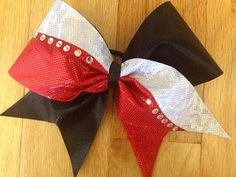 Blacksilverand red cheer bow with rhinestones by TonTonsBowtique, $12.00
