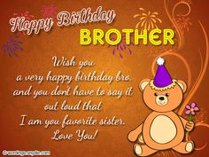 Birthday Wishes For Brother Poems Greetings 50th Messages