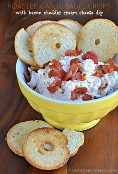 #QuickandEasy #Appetizer: Bacon-Cheddar Cream Cheese Bagel Dip | Bagel chips and bacon-cheddar cream cheese dip go a long, long way in satisfying even the pickiest snackers.