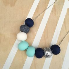 Polymer clay bead necklace. Mint grannite navy glitter by RafHop