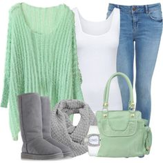 Winter Outfits   Gray and Mint   Fashionista Trends