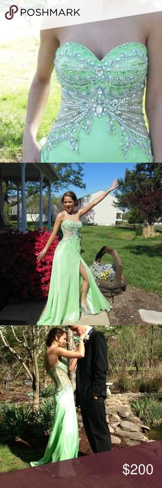 AMAZING JOVANI PROMM DRESS His dress is a show stopper ! With a sheer corset top with embellishments this dress is to die for!! Only worn one time ! Altered to size 0 Jovani Dresses Prom