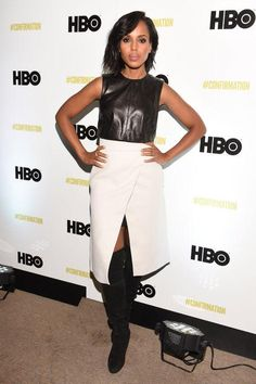 Kerry Washington just looked flawless at Sundance in over-the-knee black boots, a white wrap skirt, and a black leather tank.