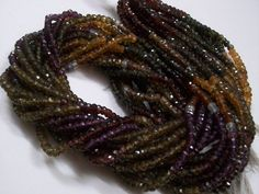 3.50 mm AAA Natural MULTI Tundra SAPPHIRE micro faceted roundel beads...  lots of gorgeous....