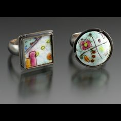 moving on series: out of the box miniatures  anne havel   rings. torch-fired vitreous enamel on copper. enamel techniqes: sgrafitto, painted, wet-packed. pierced, soldered, tab & bezel set, fabricated, formed, oxidized, textured. fine & sterling silver, copper.