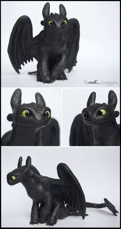 Want to discover art related to toothless? Check out inspiring examples of toothless artwork on DeviantArt, and get inspired by our community of talented artists. Polymer Clay Dragon, Polymer Clay Figures, Polymer Clay Animals, Polymer Clay Crafts, Toothless Dragon, Toothless Cake, How To Train Dragon, Dragon Trainer, Dragons