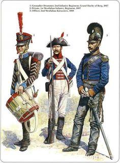 German allies 1-Grenadier Drummer 2nd Infantry Regiment grand duche de berg 1807 2-1st Westfalian infantry regiment 1807 3-officer 2nd Westfalian kurassiers 1808