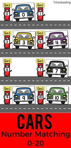 FREE printable Car theme number matching activity for preschoolers to learn their numbers and practice number recognition. Great for a transportation or math center for preschool or kindergarten. #mathforpreschoolers