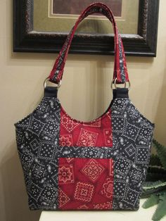 Bandana Print Fabric Handbag Purse Tote Diaper by kayscollection, $35.00