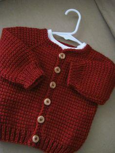Crochet Red Baby Boy Sweater Tunisian Crochet por ForBabyCreations
