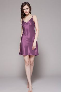 Purple color 100% best and natural silk nightgowns are for sale from online shop, which is made with luxurious custom plus size. $87 #nightgowns #silk #lilysilk