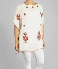 Look what I found on #zulily! White & Red Embroidered Cape-Sleeve Tunic - Plus by Highness NYC #zulilyfinds