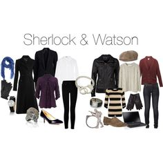 Outfits inspired by Sherlock and Watson. All I want is Sherlock's coat so I can flip up the collar and sulk like a boss. :)