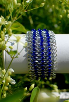 Cobalt Beaded Chainmaille Cuff Ready to Ship by DaisiesChain, $40.00