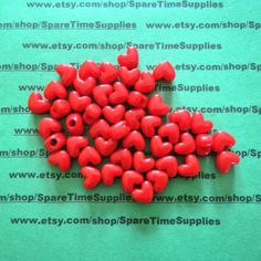 Darice Opaque Red Heart Pony Beads 11mm Acrylic 65 pieces