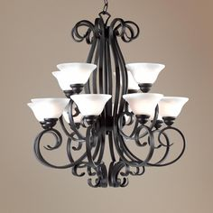 """Franklin Iron Works Manchester 32"""" Wide Two Tier Chandelier"""