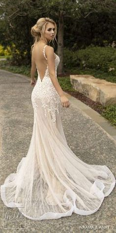 Naama and Anat Wedding Dresses 2019 - Gowns of Wisdom Bridal Collection. sleeveless thin strap deep v neck heavily embellished bodice elegant fit and flare wedding dress open low back backless chapel train dresses fit and flare Western Wedding Dresses, Open Back Wedding Dress, Backless Wedding, Gorgeous Wedding Dress, Best Wedding Dresses, Bridal Dresses, Wedding Gowns, Trendy Wedding, Wedding Venues