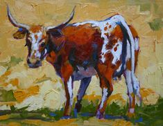 Texas Longhorn Cow Painting | Bevo's Mama - Longhorn Cow painting by Debbie Grayson Lincoln