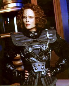 Star Trek Voyager - Lt. B'Elanna Torres (Roxann Dawson) in traditional Klingon garb.