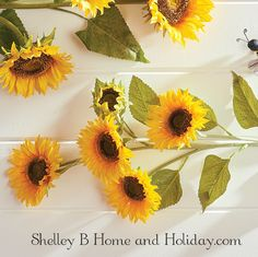 large yellow sunflower to add to a vase or container. Quality artificial flowers from Shelley B Home and Holiday.com