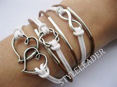 Bracelet-antique silver infinity bracelet,karma Bracelet,heart to heart bracelet. $10.99, via Etsy.