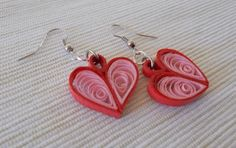 Quilled Paper Earrings | Hearts - by: Anama Lili