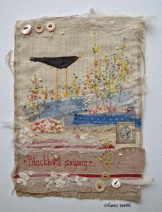 inchies Fabric book journal page layout idea scraps embroidered layered text lace Hand painted Bird Free Motion Embroidery, Embroidery Applique, Embroidery Stitches, Knitting Stitches, Creative Textiles, Fabric Journals, Fabric Pictures, Sewing Art, Boro