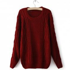 Wholesale Retro Style Cable Knit Long Sleeve Solid Color Sweater For Women (RED,ONE SIZE), Sweater & Cardigan - Rosewholesale.com AND IT COMES IN SEVERAL DIFFERENT COLOURS TOO